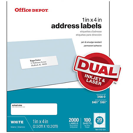 "Office Depot® Brand White Inkjet/Laser Address Labels, 505-O004-0017, 1"" x 4"", Box Of 2,000"