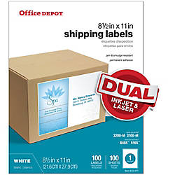 Print office depot brand white inkjetlaser permanent
