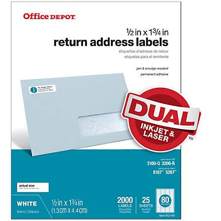 """Office Depot® Brand White Inkjet/Laser Return Address Labels, 505-O004-0001, 1/2"""" x 1 3/4"""", Pack Of 2,000"""