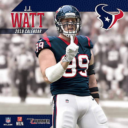 "Turner Sports Monthly Wall Calendar, 12"" x 12"", Houston Texans J.J. Watt, January to December 2019"