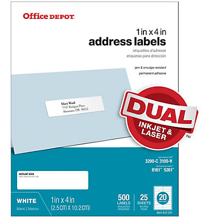"Office Depot® Brand White Inkjet/Laser Address Labels, 505-O004-0006, 1"" x 4"", Pack Of 500"