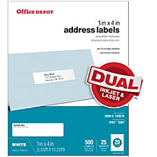Office Depot Brand White InkjetLaser Address