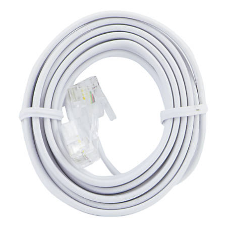 Power Gear Phone Line Cord, 7', White, 76581999