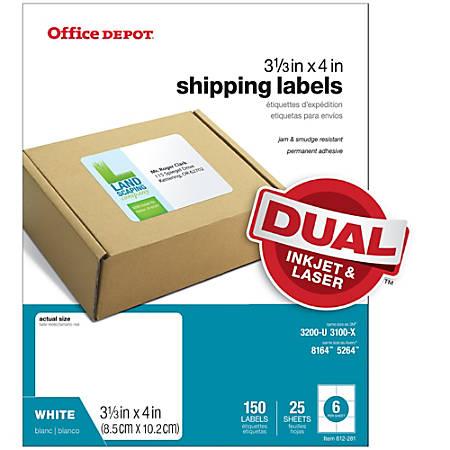 "Office Depot® Brand White Inkjet/Laser Shipping Labels, 505-O004-0009, 3 1/3"" x 4"", Pack Of 150"