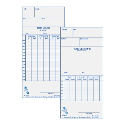 acroprint weeklybi weekly time cards for acroprint atr120 electronic time clock 2 sided 10 x 4 beige pack of 250 by office depot officemax - Bi Weekly Time Cards
