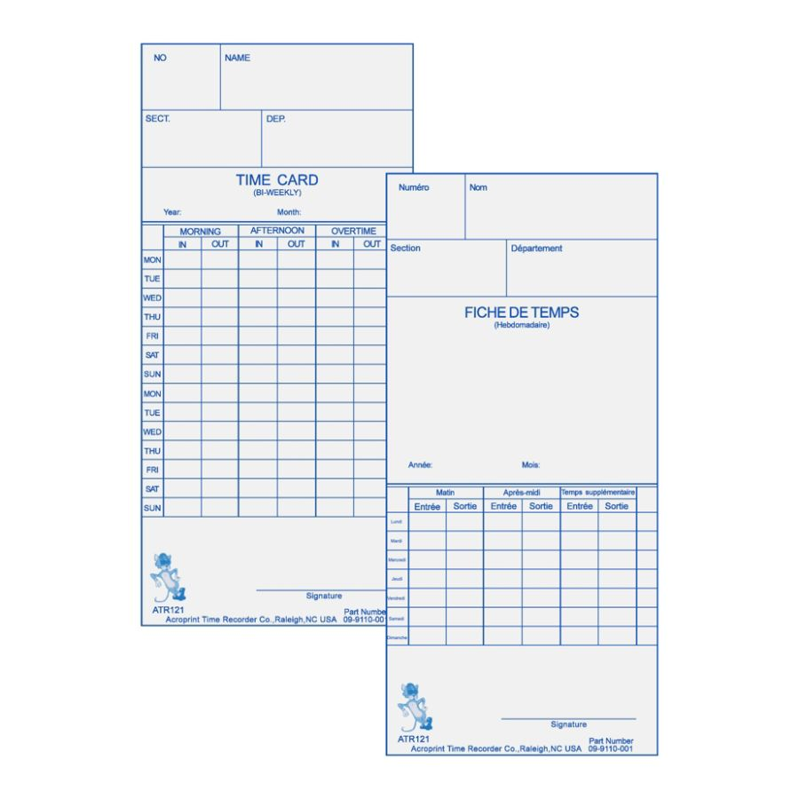 Acroprint WeeklyBi Weekly Time Cards For Acroprint ATR120 Electronic Time  Clock 2 Sided 10 X 4 Beige Pack Of 250 By Office Depot U0026 OfficeMax