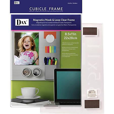 "DAX Magnetic Hook/Loop Cubicle Frame - Holds 8.50"" x 11"" Insert - Wall Mountable - Vertical, Horizontal - Hook & Loop Fastener - 1 Each - Acrylic - Clear"
