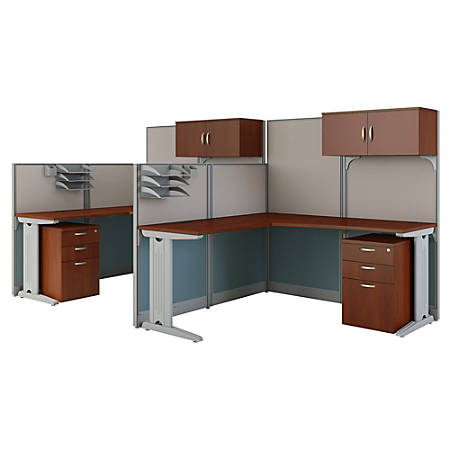 Bush Business Furniture Office in an Hour 2 Person L Shaped Cubicle Workstations, Hansen Cherry, Standard Delivery