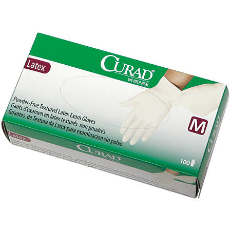 Curad® Powder-Free Latex Exam Gloves, Small, Beige, 100 Gloves Per Box, Case Of 10 Boxes