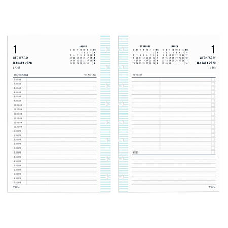 "TUL™ Custom Note-Taking System Discbound Daily Refill Pages, 8-1/2"" x 5-1/2"", Fashion, January to December 2020"