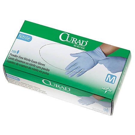CURAD® Powder-Free Nitrile Exam Gloves, Medium, Blue, Case Of 1,500