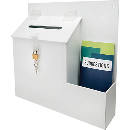 """Deflecto® Suggestion Box With Lock, 13""""H x 13 13/16""""W x 3 5/8""""D, White"""