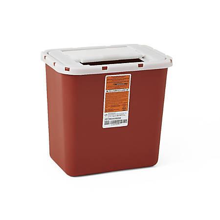 "Medline Multipurpose Biohazard Sharps Containers, 8 Quarts, 20 1/2"" x 15"" x 19"", Red, Case Of 20"
