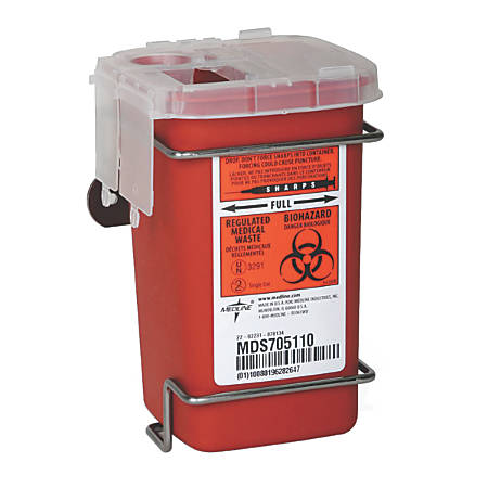 "Medline Multipurpose Biohazard Sharps Containers, 12 Quarts, 24"" x 20"" x 29 7/16"", Red, Case Of 12"