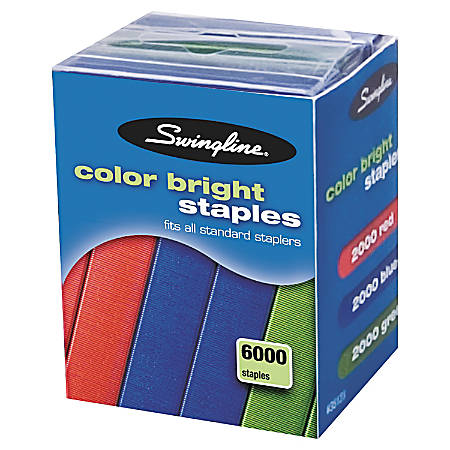 "Swingline® Color Bright Staples, 1/4"", Assorted Colors, Pack Of 6,000"