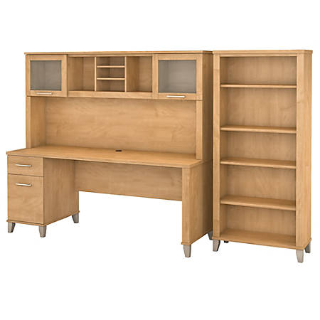 "Bush Furniture Somerset 72""W Office Desk With Hutch And 5 Shelf Bookcase, Maple Cross, Standard Delivery"