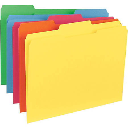 """Business Source 1/3-Cut Tab Colored File Folders - Letter - 8 1/2"""" x 11"""" Sheet Size - 1/3 Tab Cut - Assorted Position Tab Location - 11 pt. Folder Thickness - Stock - Blue, Green, Red, Orange, Yellow - Recycled - 100 / Box"""