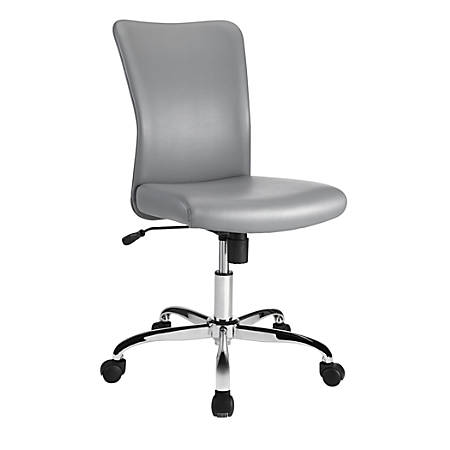 Brenton Studio® Birklee Faux Leather Mid-Back Task Chair, Gray/Chrome