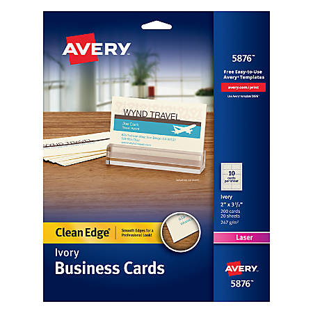 "Avery® Laser Clean Edge® Two-Side Printable Business Cards, 2"" x 3 1/2"", Ivory, Pack Of 200"