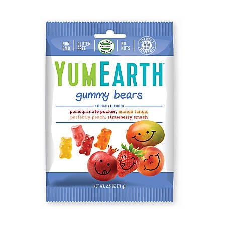 Yummy Earth Gummy Bears, 2.5 Oz, Pack Of 12 Bags