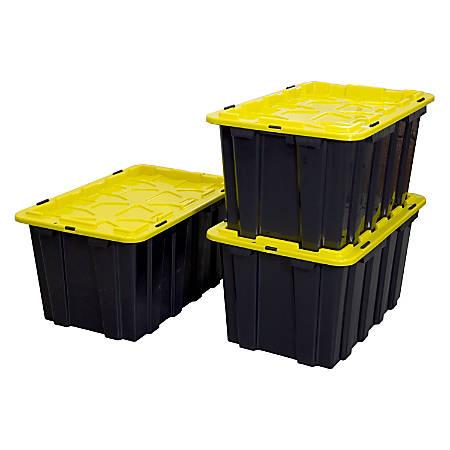 Mount-It! Work-It! Heavy-Duty Plastic Storage Bins, 60 Liters, Black/Yellow, Set Of 3 Bins