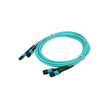 AddOn 2-Pack of 15m MPO (Female) to MPO (Female) 12-strand Aqua OM3 Straight Fiber OFNR (Riser-Rated) Patch Cable