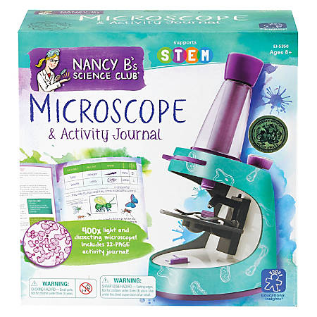 "Learning Resources® Nancy B's Science Club® Microscope And Activity Journal Set, 9""H x 8 3/4""W x 2 3/4""D, Grades 3-7"