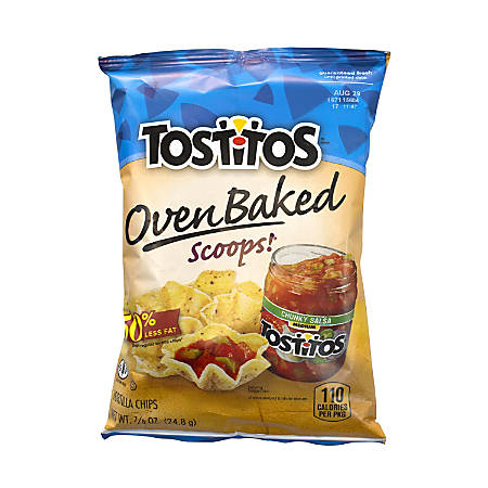 Tostitos Oven-Baked Scoops Chips, 0.89 Oz, Pack Of 72 Bags
