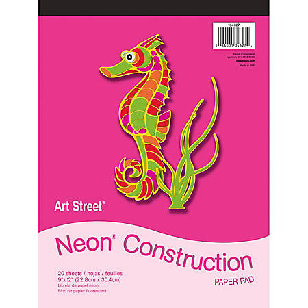 "Art Street® Construction Paper, 9"" x 12"", Assorted, Pad Of 20 Sheets"