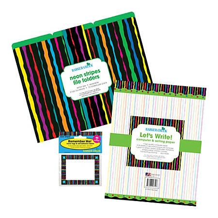 Barker Creek Get Organized Kit, Letter Size, Neon Stripe