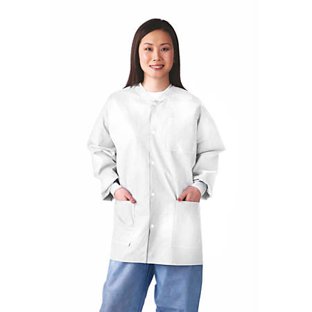 Medline Multilayer Lab Jackets, Small, White, Case Of 30