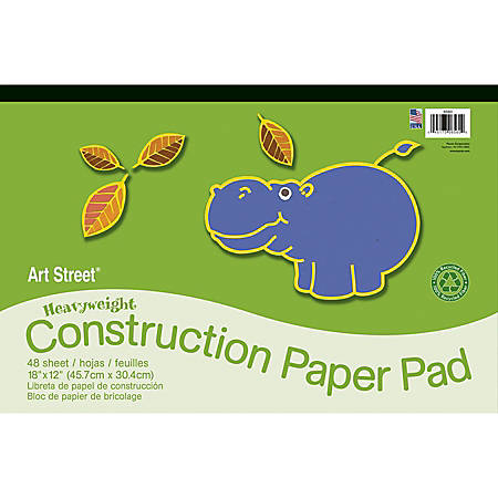 """Art Street® Construction Paper, 18"""" x 12"""", 100% Recycled, Assorted, Pad Of 48 Sheets"""