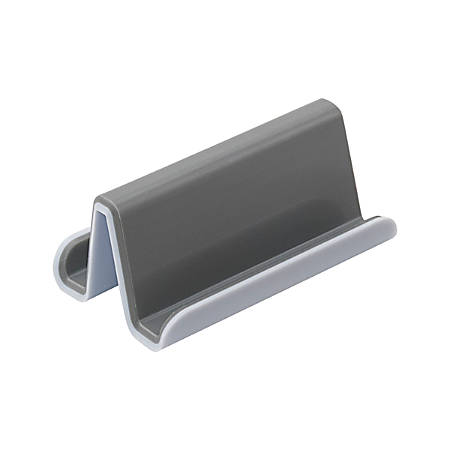 """Fusion Business Card Holder, 1 7/10""""H x 3 3/4""""W x 2 1/2""""D, 20-Card Capacity, White/Gray"""