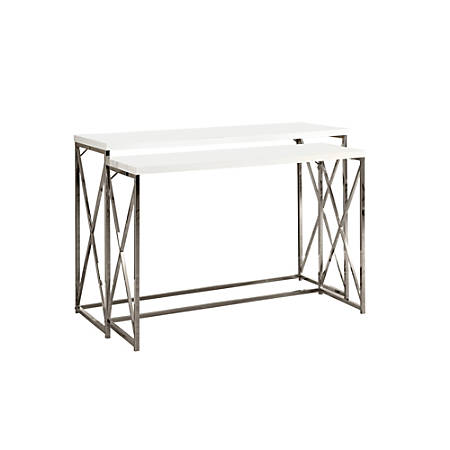 Monarch Specialties Miles Accent Tables, White, Set Of 2 Tables