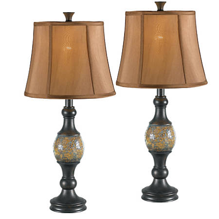 "Kenroy Home Shay Desk Lamps, 29""H, Bronze, Set Of 2"