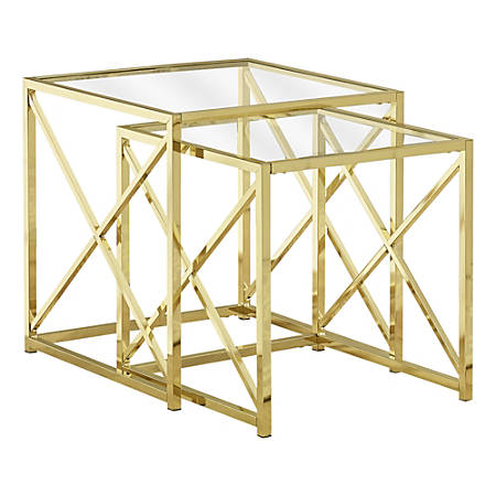 Monarch Specialties Tempered Glass Nesting Table Set, Gold