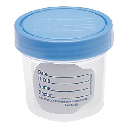 Medline Specimen Container, 4 Oz., Blue/Clear, Case Of 100