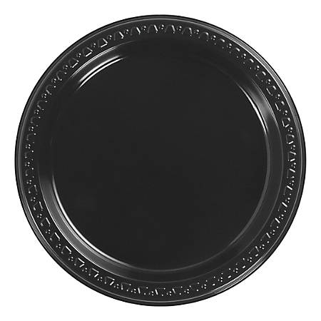 "Huhtamaki Heavyweight Plastic Dinner Plates, 7"", Black, 1,000 Plates Per Carton, Pack Of 8 Cartons"