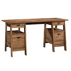 Sauder Trestle Executive Desk Vintage Oak
