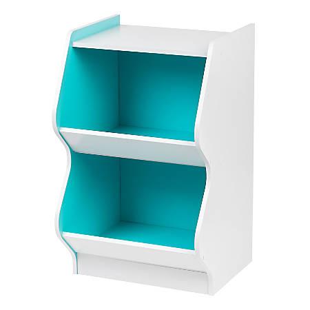 "IRIS 27""H 2-Tier Bookshelf With Footboard, White/Blue"