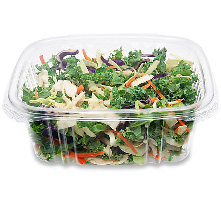 "StalkMarket Compostable Hinged Deli Containers, 15"" x 14"", 32 Oz, Clear, Pack Of 200"