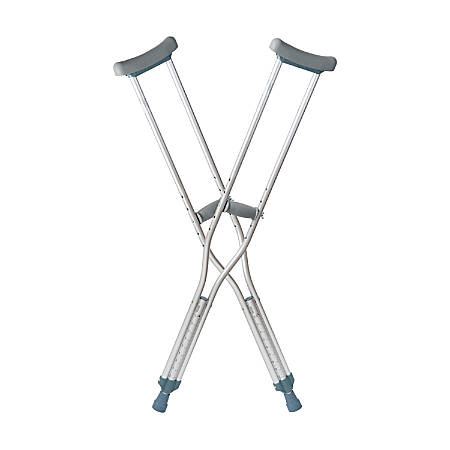 """DMI® Aluminum Push-Button Crutches, Child, Fit Users 4' – 4' 6"""", Silver, Pack Of 2"""