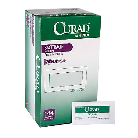 CURAD® Bacitracin Ointment Foil Packs, 0.03 Oz, Box Of 144