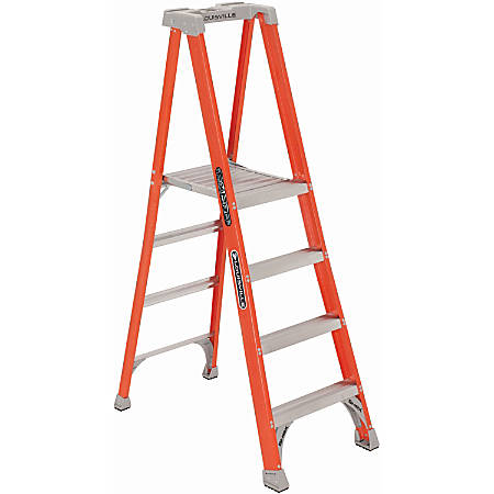 "Louisville 4' Fibrglss Platform Step Ladder - 4 Step - 300 lb Load Capacity48"" - Orange"