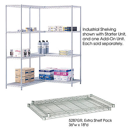 """Safco® Extra Shelves For Industrial Wire Shelving, 36""""W x 18""""D, Gray, Pack Of 2"""