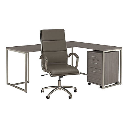 """kathy ireland® Office by Bush Business Furniture Method 72""""W L Shaped Desk with Mobile File Cabinet and High Back Office Chair, Cocoa, Standard Delivery"""