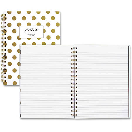 Cambridge Hardcover Wirebound Notebook - Twin Wirebound - Both Side Ruling Surface - Ruled - Gold Cover Dotted - 1Each
