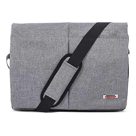"""Swiss Mobility Sterling Messenger Bag With 15.6"""" Laptop Pocket, Gray"""
