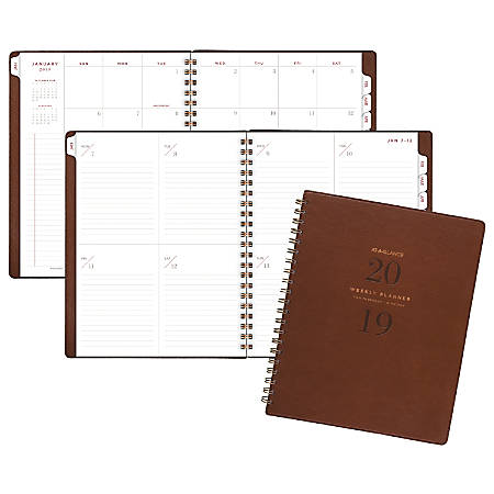 """AT-A-GLANCE® Signature Collection™ 13-Month Weekly/Monthly Planner, 8 3/8"""" x 11"""", Distressed Brown, January 2019 to January 2020"""