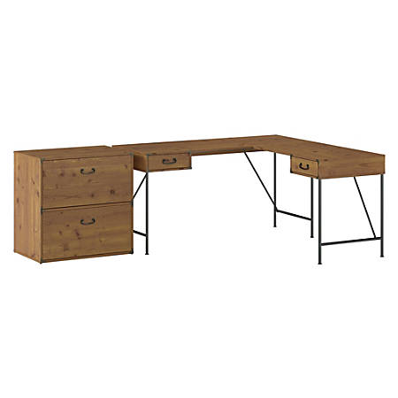 "Kathy Ireland® Home by Bush Furniture Ironworks 60""W L-Shaped Writing Desk With 2-Drawer Lateral File Cabinet, Vintage Golden Pine, Standard Delivery"